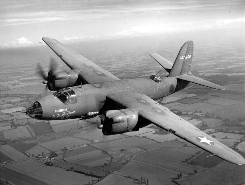 Martin Marauder B 26B bomber in flight