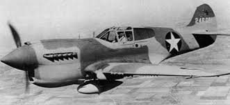P 40 Curtiss Warhawk in flight side
